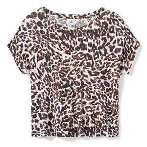 CAbi Leopard Print Knit Top M